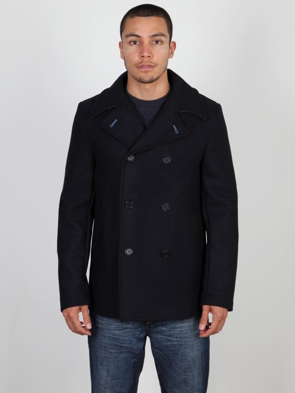 CP Company Double Breasted Woollen Military Coat In Blue