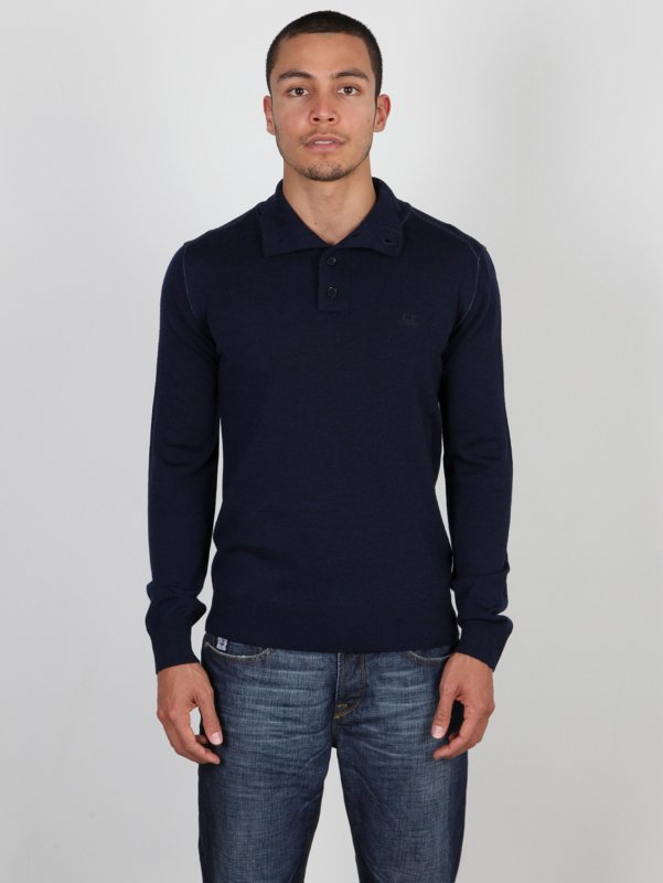 CP Company Merino Wool Sweater In Navy Blue
