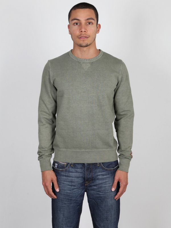 CP Company Antique Dyed Crew Neck Sweatshirt In Green