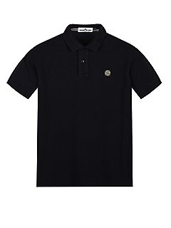 Cotton Pique Short Sleeve Polo Shirt in Navy Blue
