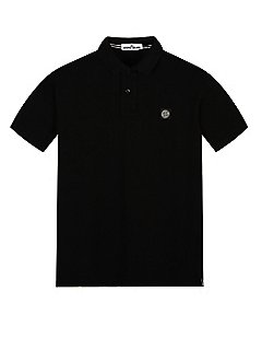 Cotton Pique Short Sleeve Polo Shirt in Black