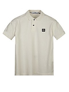 Cotton Pique Short Sleeve Polo Shirt in White