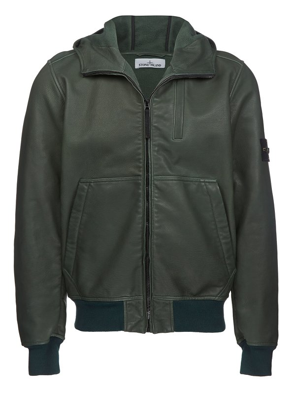 00178 LEATHER FELPA MID LENGTH JACKET IN GREEN