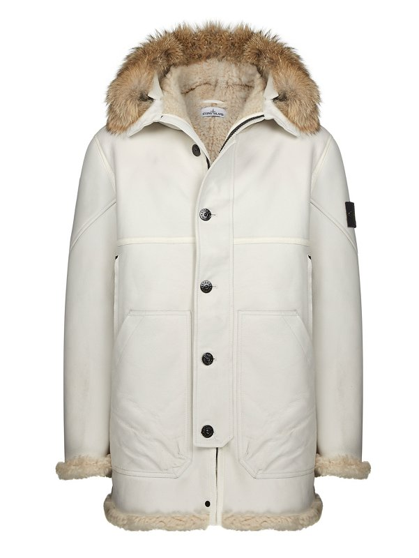 00479 HAND PAINTED SHEEPSKIN PARKA IN WHITE