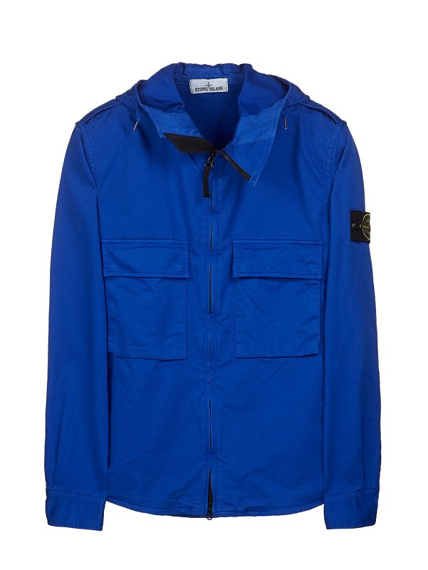 10211 HOODED OVERSHIRT IN BLUE