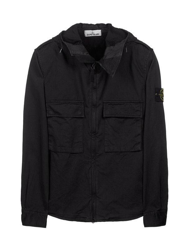 10211 HOODED OVERSHIRT IN BLACK