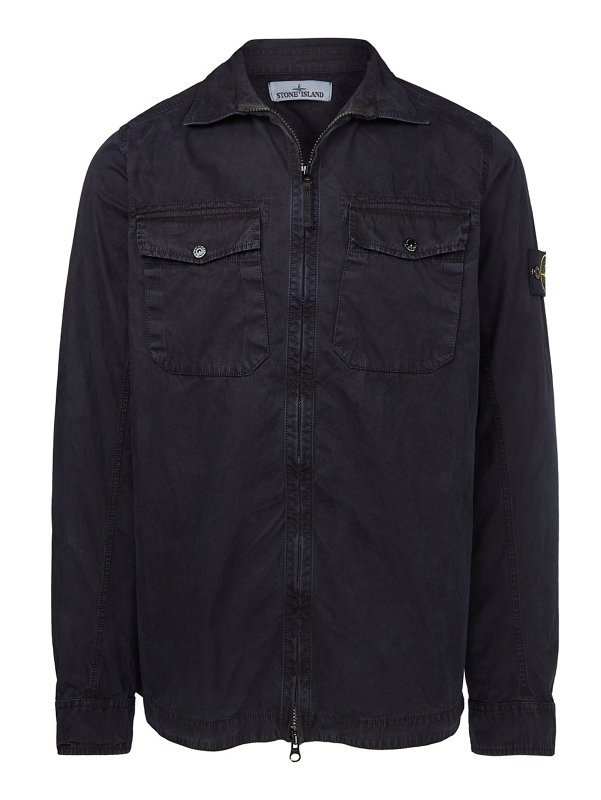103KN BRUSHED CANVAS OVERSHIRT IN MARINE BLUE