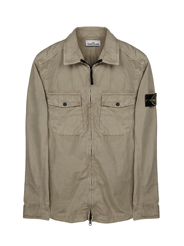 103KN BRUSHED CANVAS OVERSHIRT IN LIGHT GREY