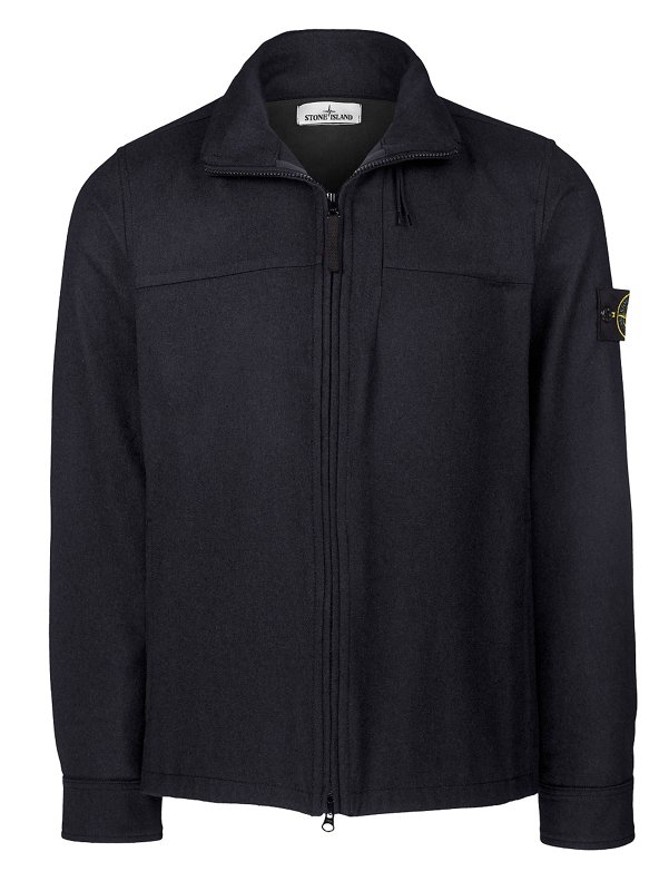 10751 MELANGE WOOL POLY BIONIC FINISH OVERSHIRT IN NAVY BLUE