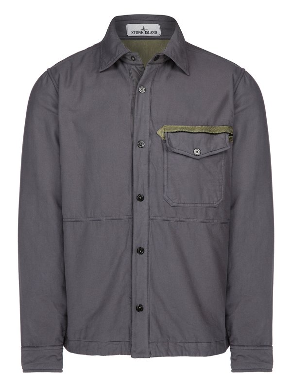 10806 GARMENT DYED COTTON FLANNEL OVERSHIRT IN GREY