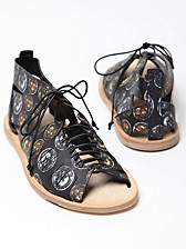 Alexander McQueen Men's Calamity Leather Coin Print Sandals