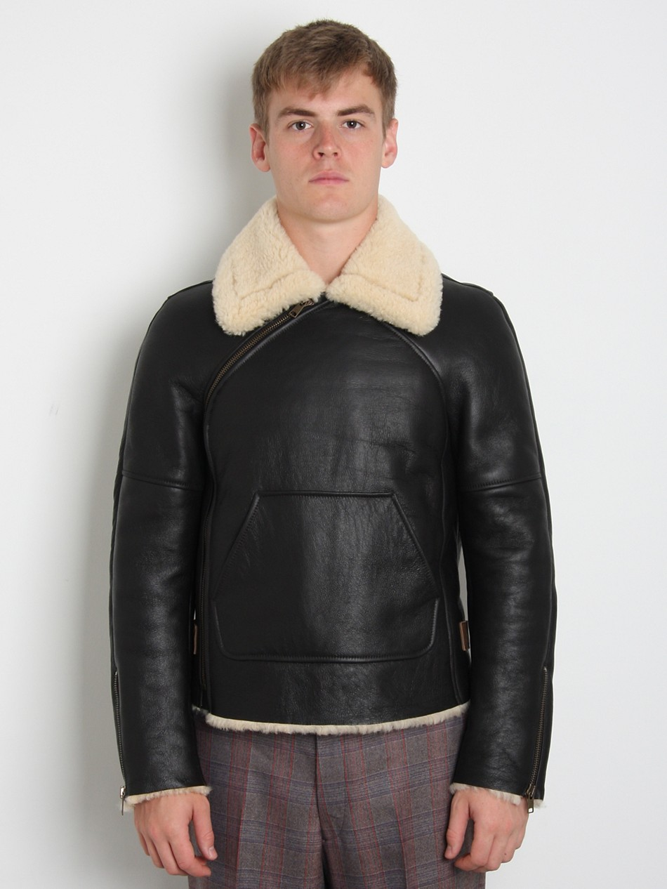 ALEXANDER MCQUEEN LEATHER SHEARLING JACKET