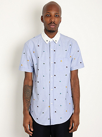 Short Sleeve Flag Shirt: Blue