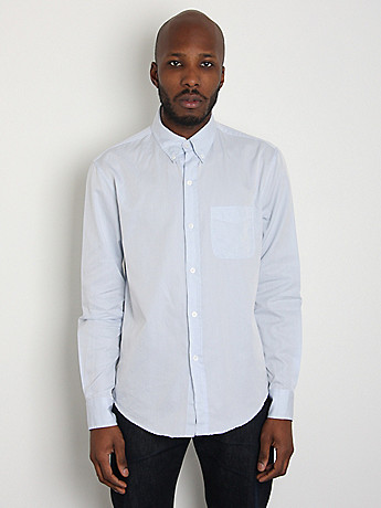 Cotton Twill Buttondown Shirt: Blue