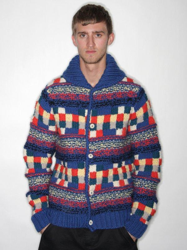 Folk Reverse Stitch Squares Cardigan