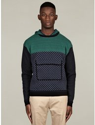 Men's Square Cotton Knit Hooded Sweater