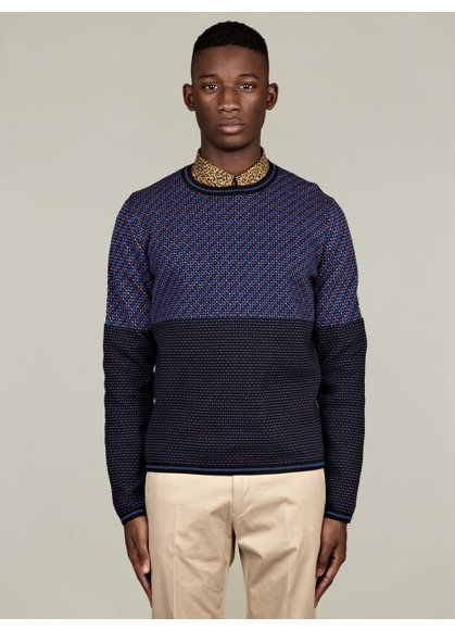Men's Blue Square Cotton Knit Sweater