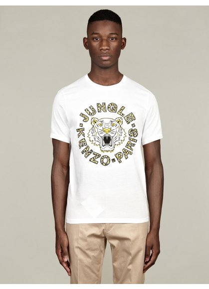 Men's White Jungle Cotton T-Shirt