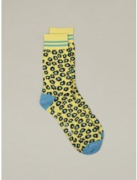Men's Yellow Printed Cotton Socks