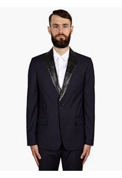 14 Men's Navy Coated Lapel Wool Jacket
