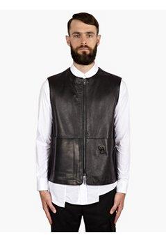 10 Men's Black Remade Leather Satchel Waistcoat
