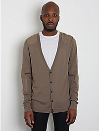 Neil Barrett Knitted Leather Patch Biker Cardigan
