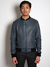 Noir Basic Deerskin Leather Bomber Jacket