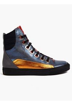 / Sterling Ruby Men's Metallic Leather Hi-Top Sneakers