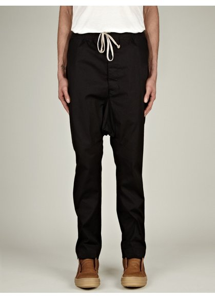 Men's Long Black Drawstring Pants