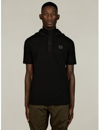 Men's Black Hooded Polo Shirt