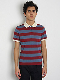 This Is Not a Polo Shirt Rugby Stripe Polo Shirt: Blue / Burgundy