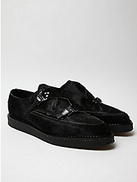 Mugler Men's Pony Hair Buckled Creeper